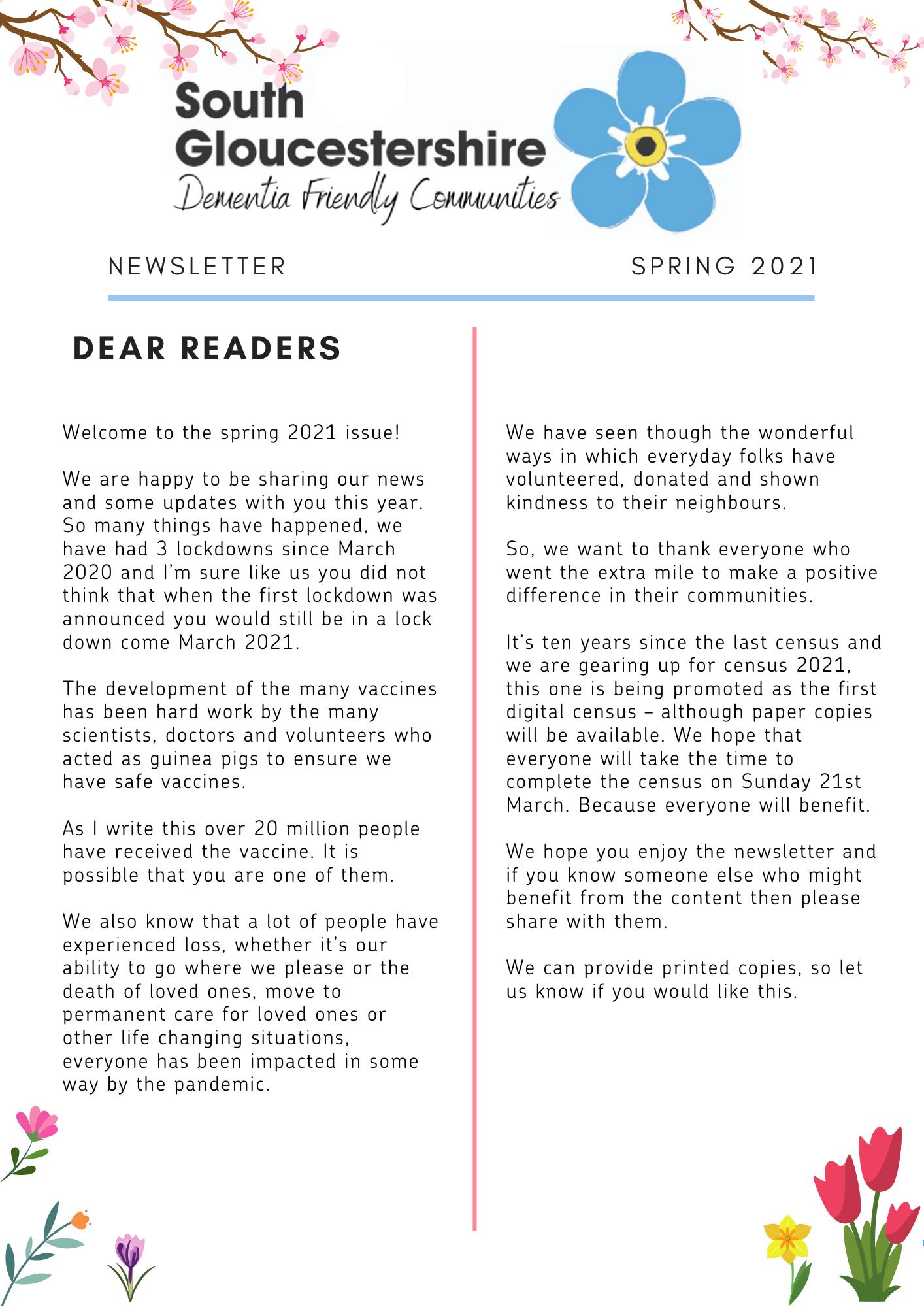Dementia Spring 2021 newsletter