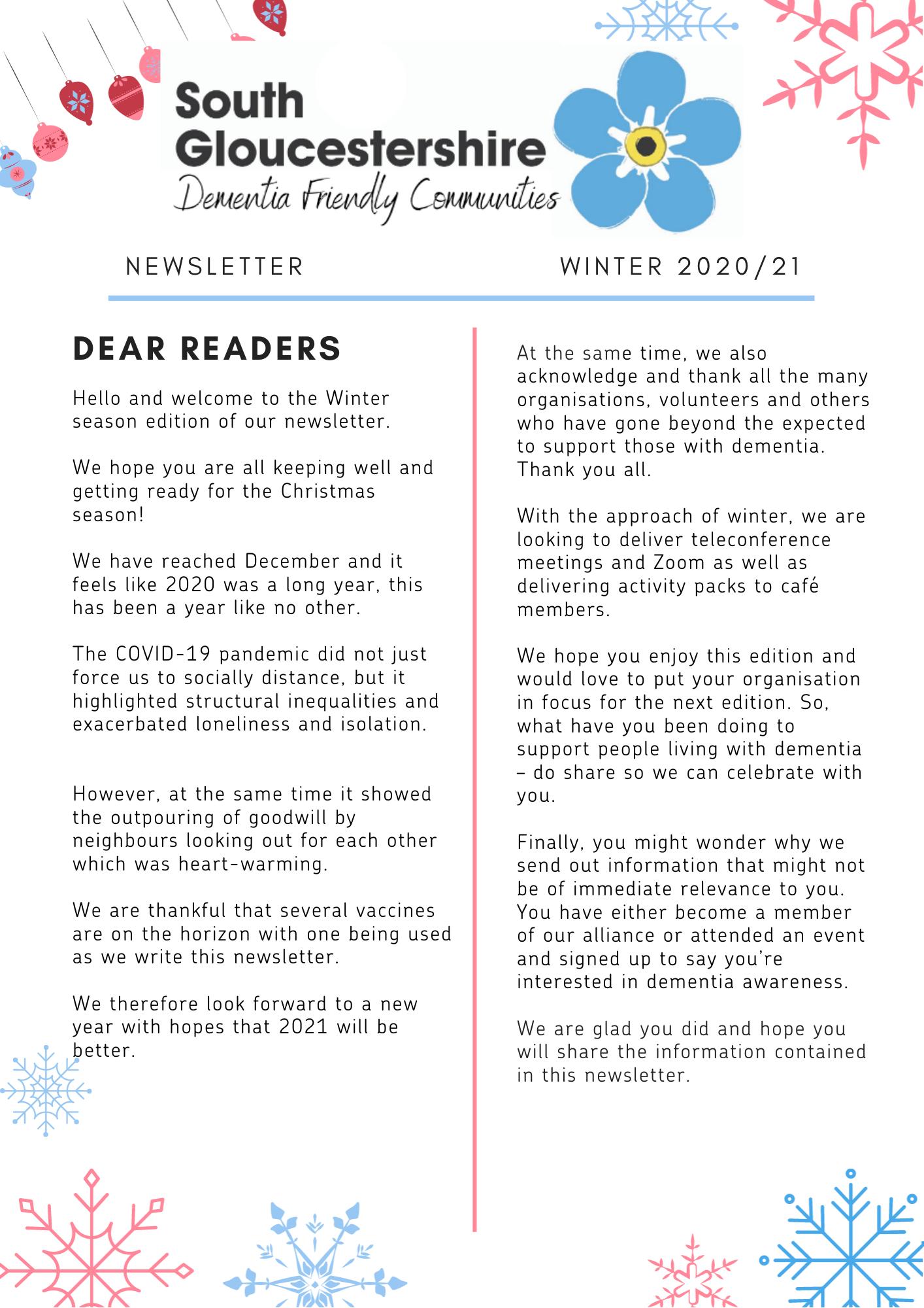 Dementia Winter newsletter