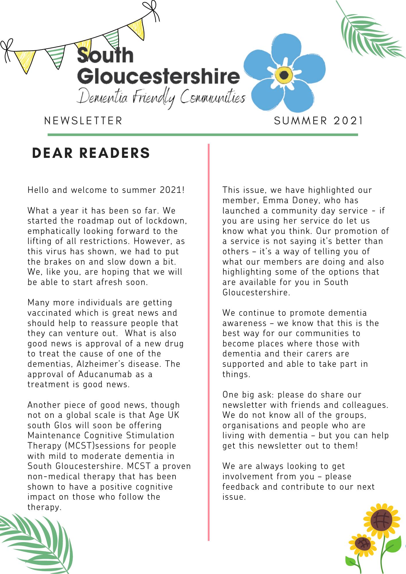 Dementia Newsletter Summer 2021